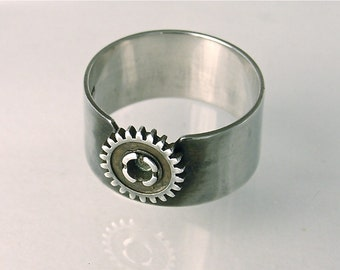Mens Cog Ring, Sterling Silver Band Ring