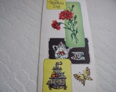 Vintage Mothers Day Greeting Card-coffee pot cup stove butterfly
