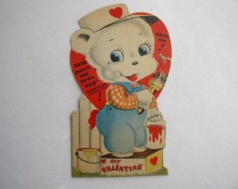 Vintage Valentine Die Cut Bear Painting with Bucket 1930-1940