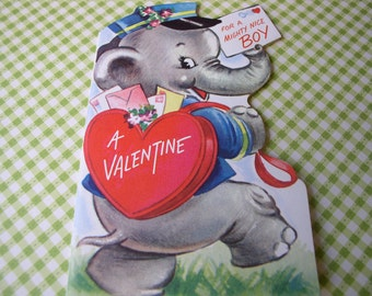 Vintage Valentine Greeting Card- Elephant with Valentine Mail Hearts