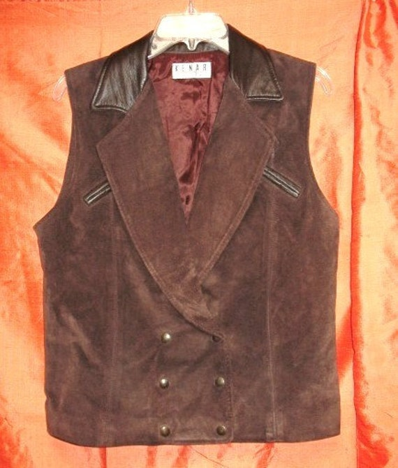 Double Breasted Brown Suede Vest