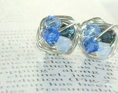 Petite Blue Dark to Light Series- Wire Wrapped Studs- Shades of Blue Swarovski Crystal Bead and Silver wire Stud Earrings