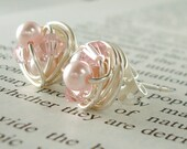 Petite Light Pink/Rosaline - Mix It Up Series- Swarovski Glass Pearl and Crystal Bead Wire Wrapped Stud Earrings