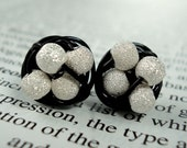 Petite Wire Wrapped Stud Earrings Star Dust Sterling Silver Beads and Black Wire - Disco Ball Series