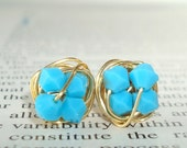 Petite Robin's Egg Series- Signature Wire Wrapped Stud Earrings with turquoise swarovksi crystal beads and gold wire