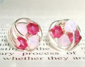 Petite Double Pink Series- Signature Wire Wrapped Stud Earrings with fuchsia and light pink swarovksi crystal beads
