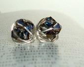 Heliotrope Petite Wire Wrapped Studs- The Black Rainbow Series-  Crystal Heliotrope swarovski crystal beads wire wrapped stud earrings