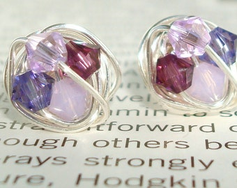 Petite Dark to Light Series- Wire Wrapped Studs Sterling silver posts- Shades of Purple Swarovski Crystal Bead and Silver wire Stud Earring