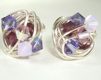 Dark to Light Series- Wire Wrapped Signature Studs- Shades of Purple Swarovski Crystal and Silver Wire Stud Earrings