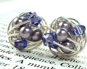 Tanzanite/Mauve/Purple - Mix It Up Series- Swarovski Glass Pearl and Crystal Bead Wire Wrapped Stud Earrings