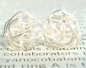 Petite Diamond in the Wire Series- Wire Wrapped Studs - Clear Swarovski Crystal Bead and Silver wire Stud Earrings