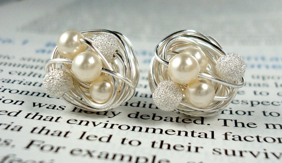 Cream/Star Dust - Mix It Up Series- Swarovski Glass Pearl and Stardust bead Wire Wrapped Stud Earrings
