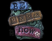 Be Here Now Art Magnet Flower Green Blue Gold