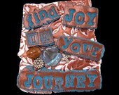Find Joy in Your Journey - Inspirational Art Magnet in Aqua Blue and Brown