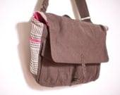 Brown Canvas, Houndstooth & Pink Print Messenger Bag