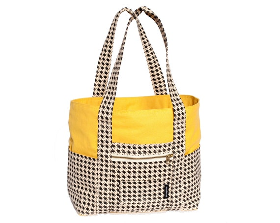 Yellow Canvas and Houndstooth Unisex Baby Bag with Pirate Fleece Lining
