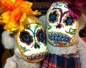 Duo of Día de los Muertos sugar skull sock monkeys MADE TO ORDER by Post Street