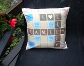 12 inch, YOUR Scrabble Message Pillow Cover, Customizable, heat infused design, white polyester fabric