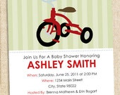 Tricycle  Baby shower invitations - set of 12