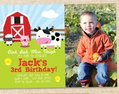 Barnyard Birthday Invitation - you print digital file