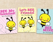 Printable Valentine Cards - Bees