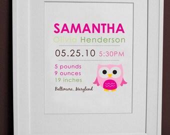 8 x 10 - Birth Print OWL - wall art