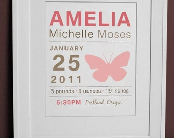 8 x 10 - Birth Announcement Print - Butterfly