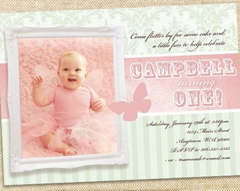 Shabby Chic Butterfly Birthday invitation, you print digital file