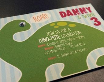 Dinosaur Birthday Invitations - digital file