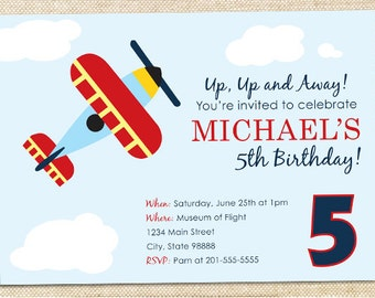Airplane Birthday invitation - set of 15