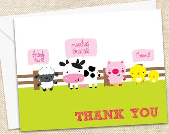 Barnyard Thank You Cards - set of 15