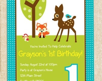 Woodland Birthday invitation - set of 12