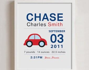 Birth Announcement Print - Wall art CAR
