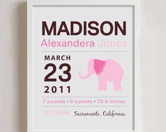 8 x 10 - Custom Birth Announcement Print - Elephant Wall art