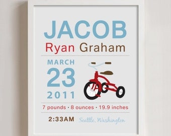 8 x 10 - Custom Birth Announcement Print - Tricycle Wall art