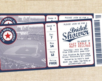Baseball Bridal Shower invitations - set of 15