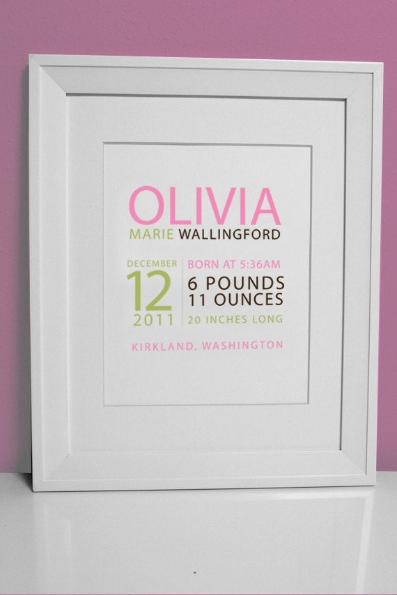 8 x 10 - Custom Birth Print - GIRL - perfect for framing