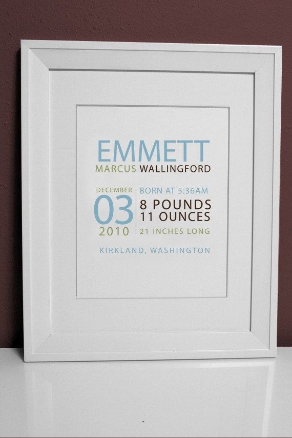 8 x 10 Baby Name Print - perfect for framing