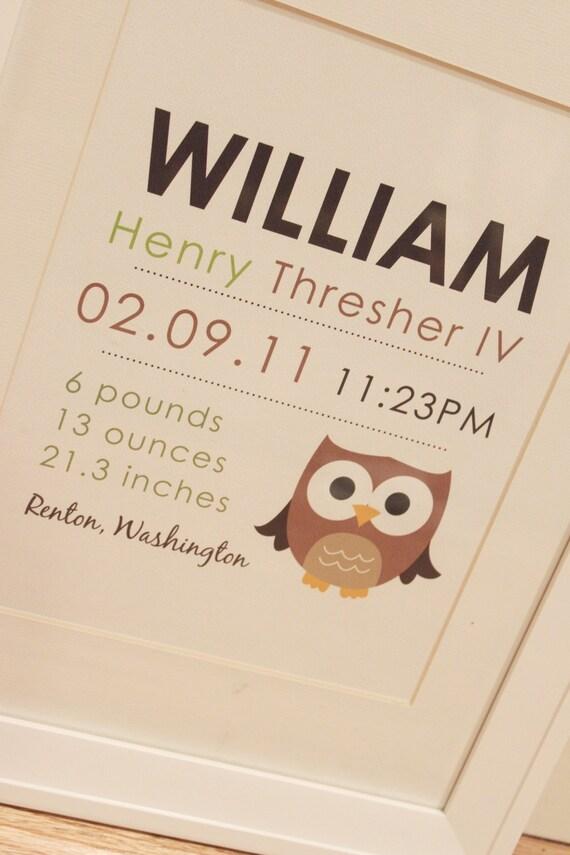 8 x 10 - Custom Birth Announcement Print - OWL wall art