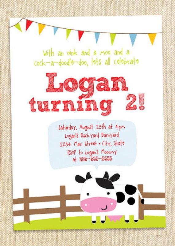 Barnyard Birthday invitation - set of 12