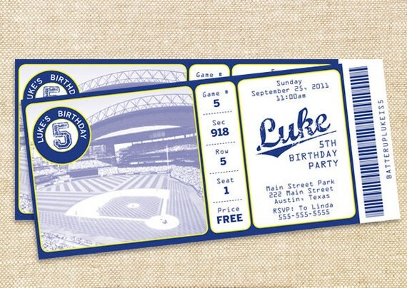 items similar to baseball birthday invitations  set of  on etsy, Party invitations