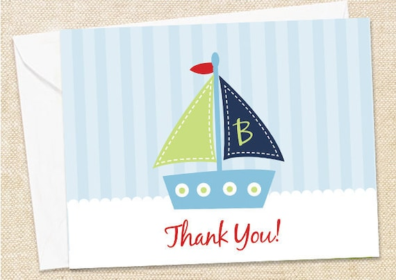 Sailboat Thank You Cards - set of 12