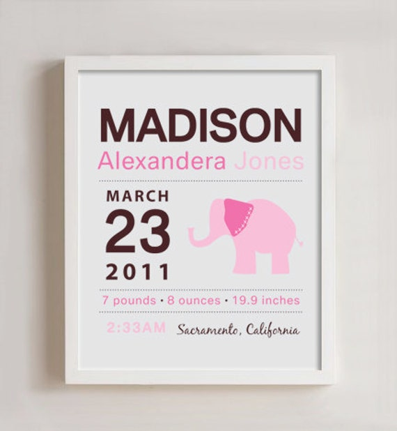8 x 10 - Custom Birth Announcement Print - Elephant Wall art