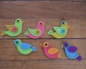 Set of 6 Felt Birds