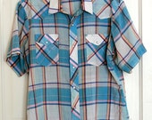 Vintage Mens Large Plaid Wrangler Shirt