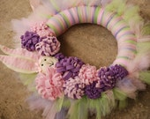 Funny Bunny Tu-tu Wreath- Easter Spring Wreath- Made to Order limited edition