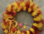 Harry Potter Inspired Tu-Tu Wreath- House of Gryffindor -made to order with your initial