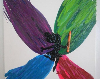 Fairy Melted Crayon Painting