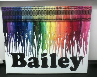 Custom Name Melted Crayon Paintings