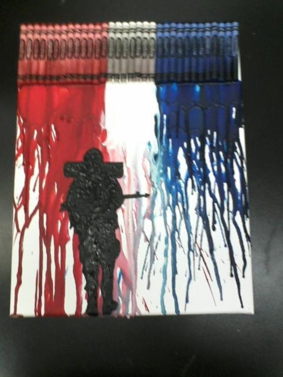 Soldier Melted Crayon Painting